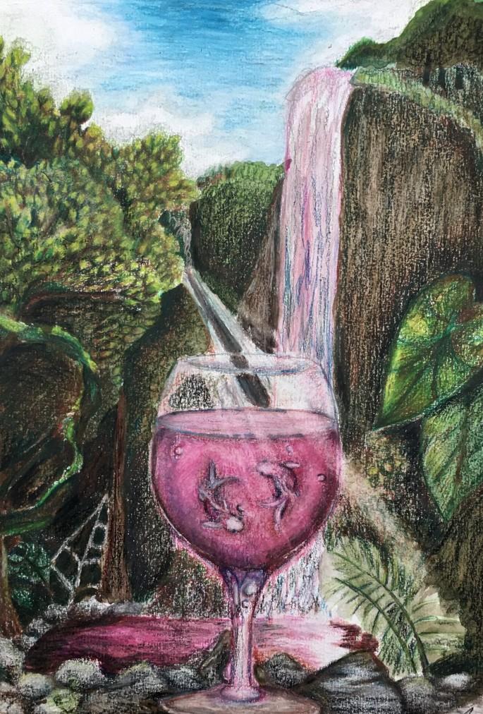 Connor Shirshac copa de vino con carpas doradas wine glass with goldfish