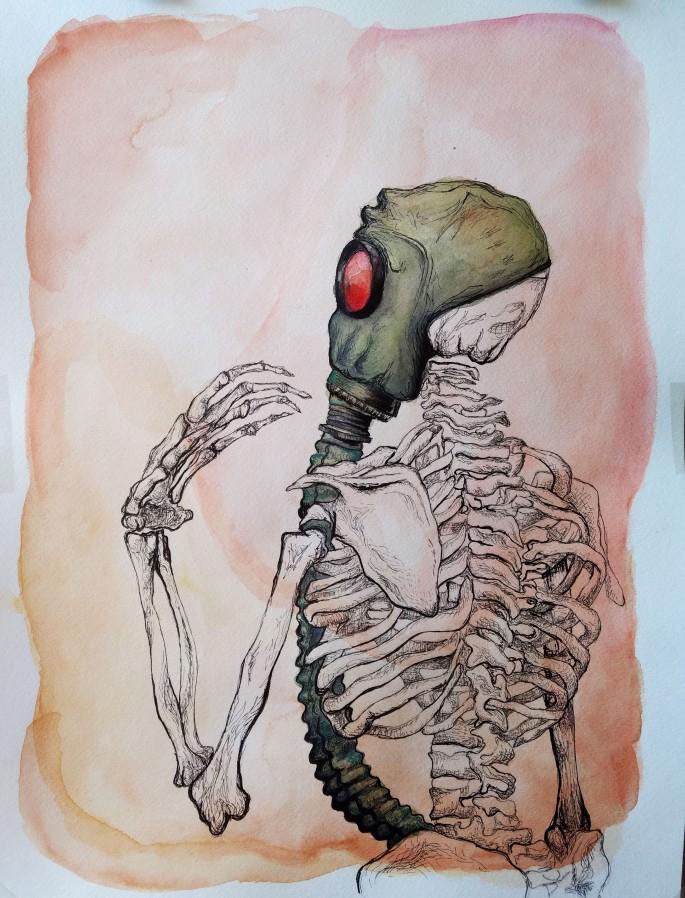 Eve Woods esqueleto con máscara anti gas skeleton w gas mask
